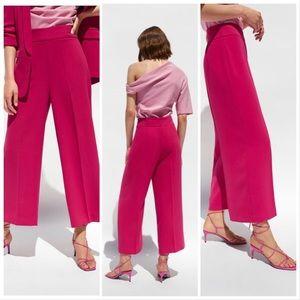 ZARA Black High Waist Wide Leg Crop Pants